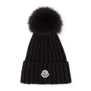 Moncler Ribbed Fox Fur Beanie Hat